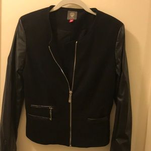 Vince Camuto faux leather sleeve jacket Sz 8P